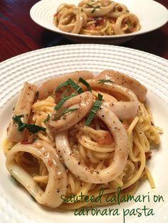 sauteed calamari on carbonara pasta | cooking from the heart