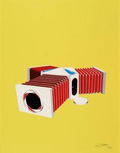 Guy Rottier: Maison de vacances à géométrie variable, 1983. Noyau construit en matériaux chers comprenant les pièces d' eau et plateau cuisine, chambres rétractables en matériaux économiques. Après les vacances, on ferme la maison comme un appareil photo à soufflet. Portes fenêtres sur le principe des diaphragmes d'objectifs photo.