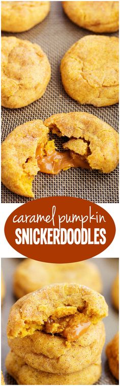 A soft and puffy pumpkin snickerdoodle with an ooey gooey caramel center. These are some of the best fall cookies that I have ever made! Fall Dessert Recipes, Sweet Desserts, Fall Recipes, Sweet Recipes, Delicious Desserts, Yummy Treats, Sweet Treats, Soft Pumpkin Cookies, Pumpkin Dessert
