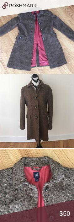 GAP Long Tweed Coat Brown and coral wool-blend coat. Fully lined. Size L. Excellent condition- freshly dry cleaned! GAP Jackets & Coats