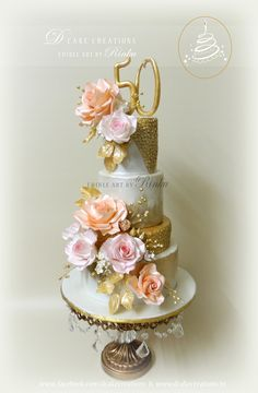 Golden Anniversary Floral Cake Four Tier Golden Wedding Anniversary Cake Decorated with Peach & Pink edible Roses. Wedding Cake Photos, Beautiful Wedding Cakes, Beautiful Cakes, Amazing Cakes, 50th Wedding Anniversary Cakes, Golden Anniversary, Crazy Cakes, Fancy Cakes, Edible Roses