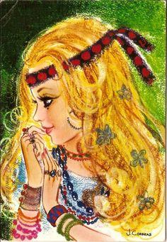 Vintage Illustration, Feelin Groovy, Vintage Children, Vintage Postcards, Painted Rocks, Art Girl, Flower Power, Photo Art, Cute Pictures