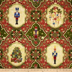 Nutcracker Christmas Metallic Medallion Patch Cream from @fabricdotcom  Designed by Judy Hansen for Paintbrush Studios and Fabri-Quilt, this cotton print is perfect for quilting,apparel and home decor accents.  Colors include red, green, cream, black, grey, blue, yellow and metallic gold.
