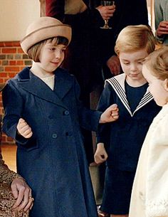 Last Days of Downton  ...Sybbie hugging her cousins.. Sybbie, Marigold, George of Downton Abbey, Season 6..