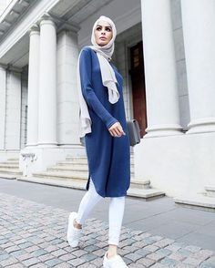 Dove plain hijab (our biggest seller), Navy Ribbed Midi and white joggers - for a casual summer Renaissance. See you on Saturday!