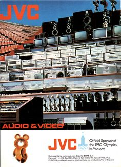 JVC official sponsor of the 1980 Olympics in Moscow Audio Vintage, Vintage Ads, Vintage Posters, Recording Equipment, Audio Equipment, 1980s Boombox, Kenwood Stereo, Radios, Old School Radio