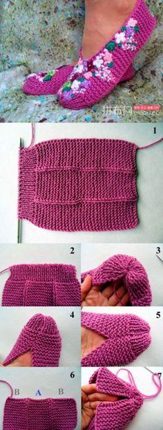 Trendy crochet patterns for women slippers free knitting 57 ideas Loom Knitting, Knitting Socks, Knitting Stitches, Knitting Patterns Free, Knit Patterns, Free Knitting, Baby Knitting, Knit Socks, Free Pattern