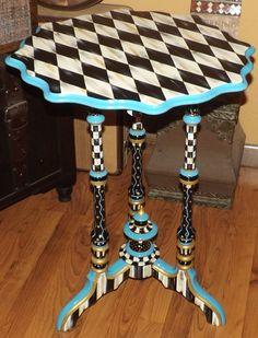 Harlequin Black White Check Table Mackenzie Childs Inspired Antique Freshly Painted by WhimsicalChecks on Etsy https://www.etsy.com/listing/214106110/harlequin-black-white-check-table