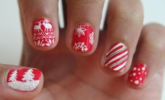 nageldesign bilder weihnachten motive rot weiß