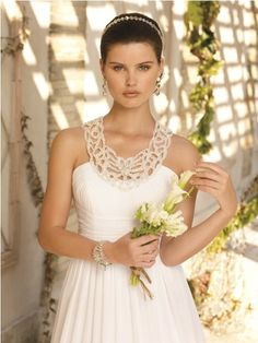 grecian style gown with beaded cut out collar