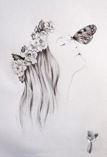 #ElementEdenArtSearch She wore flowers in her hair - Graphite on paper