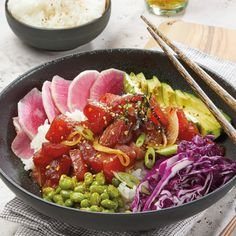 For a fresh and flavorful meal, make these Ahi Poke Bowls with Sesame Edamame & Sushi Rice.