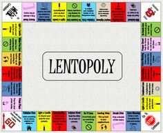 "Lentopoly is a game that is meant to incorporate the 3 aspects of Lent: prayer, fasting & almsgiving. By doing the charitable acts each day the child ""earns"" tokens (nails, pennies, beans, etc.)."
