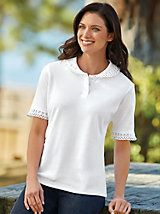 """Excellent quality, perfect weight for all seasons. Collar & sleeve detail very delicate & lovely.."" ~ Customer on our Cutwork Trimmed Polo from Blair"