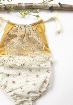 Handmade Floral & Lace Baby Romper | TwolittlesandLou on Etsy