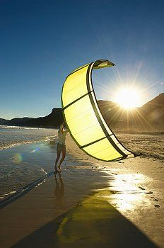 Kitesurfing along the coast......