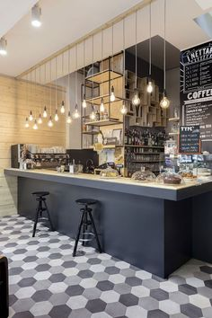 Paris coffee shop display lighting wall design