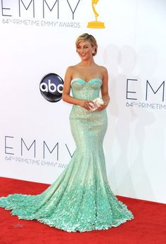 Julianne Hough wearing Georges Hobeika Couture Green Dress At The 2012 Emmy Awards