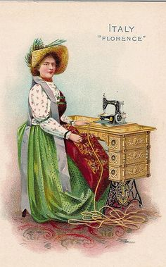 ♥Singer Sewing Machine trade card -- Italy -- c. 1900