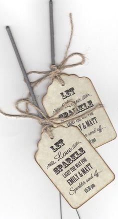 50 Sparkler Wedding Favor Tags / Sparkler Send Off by luvs2create2, $31.25
