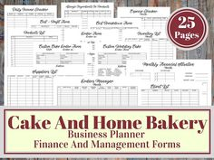 Cake And Bakery Business Planner, Financial and Management Printable Forms, Recipe Calculator, Cupcake Business Social Media Planner, Social Media Tracker, Baking Business, Cake Business, Business Logo, Business Goals, Recipe Calculator, Cake Order Forms, Business Planner
