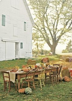A few years ago my husband's sister hosted Thanksgiving at her home in the country and the scene looked almost like this.  Such a wonderful day- it was straight out of a movie! :) www.eatingwithpurpose.ca