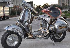 """""""The Guardian"""" a Steampunk Vespa. Piaggio Scooter, Vespa Bike, Scooter Motorcycle, Vespa Lambretta, Vespa Scooters, Vespa 150, Scooter Custom, Vintage Vespa, Motor Scooters"""