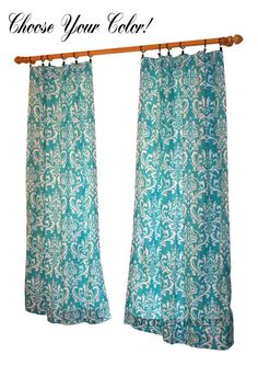 Damask Curtains- Pair of Drapery Panels- Premier Prints Ozborne Curtains- 63 84 90 96 108 120 inch Drape- Navy Window Treatments