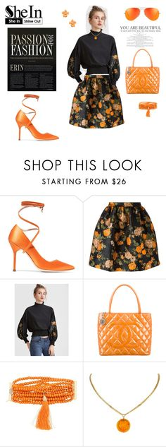 """""""orange"""" by agnesmakoni ❤ liked on Polyvore featuring Vetements, MSGM, WithChic, Chanel, Rosantica and Kenneth Jay Lane"""
