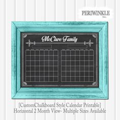 Chalkboard Calendar Printable Fully Cutomizable 2 Month View Mulitple Sizes available