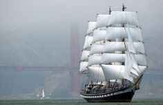 The Russian tall ship Pallada sails under the Golden Gate Bridge and into San Francisco Bay, during the opening of the Sail San Francisco 2005 International Maritime Festival, on July 28, 2005. (AP Photo/John M. Harris) #