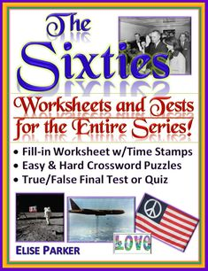 """Worksheets, crossword puzzles, and a """"big picture"""" test covering Episode 6 of The Sixties -- a complete teaching solution to using this wonderful series in your history class!The Sixties is a ten-part documentary series produced by CNN. Covering the entir Cnn The Sixties, Spanish Exercises, Crossword Puzzles, History Class, History Channel, Teaching Materials, Math Resources, Jfk, Big Picture"""