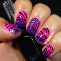 pink and purple zebra nail art Zebra Nail Designs, Nail Designs 2014, Zebra Nail Art, Nails Design, Design Design, Toe Designs, Design Ideas, Trendy Nails, Cute Nails
