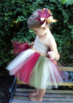 Tutu  Dress Fall Autumn Baby Toddler  with matching hairclip Lovely Autumn Multi Color. $57.00, via Etsy.