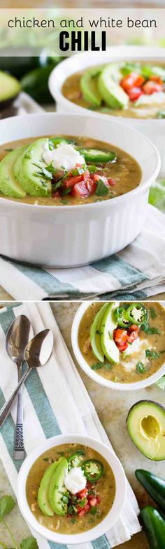 This Chicken and White Bean Chili is a spicy white green chili and jalapeño chili that will heat you up on an cold day! Best Soup Recipes, Fun Easy Recipes, Chili Recipes, Healthy Chicken Recipes, Dinner Recipes, Easy Meals, Cooking Recipes, Favorite Recipes, Avocado Toast
