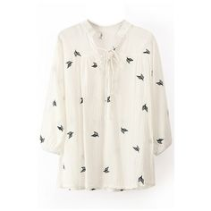White Embroidered Leaf Long Sleeve V-Neck Top ($28) ❤ liked on Polyvore featuring tops, blouses, shirts, collared shirt, white cotton shirt, white long sleeve blouse, long sleeve tops and long white shirt