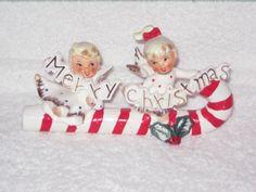 Vintage Christmas Candy Cane Sleigh Angel Girl Lefton Napco Porcelain hard to find Figurine Ornament Decoration Japan. $175.00, via Etsy.
