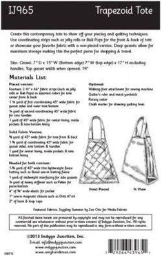 Image result for Trapezoid Tote sewing pattern free