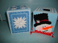 Winter Tissue Box Covers OOAK by cecrafts on Etsy, $8.00