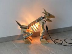 Original dog robot lamp made entirely from pallet wood.