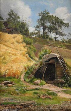 Carl Frederic Aagaard (1833-1895): Solbelyst landskap med koja