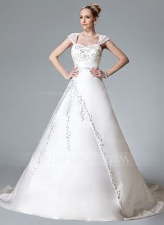 Ball-Gown Sweetheart Chapel Train Satin Wedding Dress With Embroidered Beading (002000558)