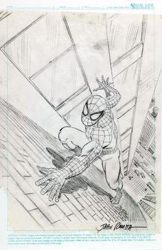 The Bristol Board – Original sketch and final cover by John Romita Sr. from Marvel: Five Fabulous Decades of the World's Greatest Comics, published by Harry N. Spiderman Sketches, Comics Spiderman, Spiderman Drawing, Avengers Drawings, Marvel Comics Art, Marvel Comic Books, Comic Books Art, Pencil Art Drawings, Cool Drawings