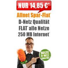 beste D-Netz-Qualität     Flatrate* ins dt. Festnetz     Flatrate* in alle dt. Mobilfunknetze     Internet-Flatrate (ab 250 MB Drosselung auf GPRS-Geschwindigkeit)     nur 14,85 € monatliche Grundgebühr     25,- € Bonus bei Rufnummernmitnahme     500 MB 14,4 Mbit/s Highspeed-Internet* + SMS-Flatrate* nur 5,- € Aufpreis hier bestellbar