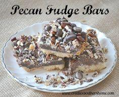 Pecan fudge bar recipe.  You will love these!  #pecans