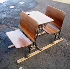 Vintage Antique 1881 Child School Desk Chair Cast Iron & Wood Steampunk