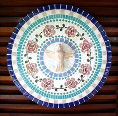 Mandala Divino Espírito Santo Rosas 50 | Coral Mosaicos | Elo7