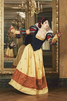 "Cosplayer Tsuya as Snow White in period costume as originally drawn by artist ""Shoomlah."""