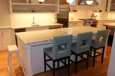 White granite island from a Premier Granite installation in Pittsburgh, PA.