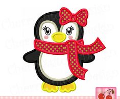 Cute Penguin for girls,Winter girl penguin with bow and scarf applique WIN006 -approximate 4x4 5x5 6x6 inch-Machine Embroidery Design by CherryStitchDesign on Etsy